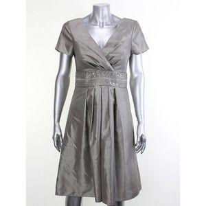 Js Boutique Grey Short-Sleeve Surplice-Neck Dress